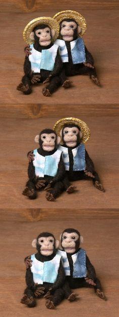 Happy Needle-Felted Miniature Chimpanzees by DinkyWorld on Etsy