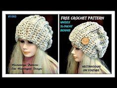 UNISEX CROCHET SLOUCHY HAT, adult size, Pattern #1060, (rib stitch, slip stitch to join) - YouTube