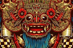 bali barong mask illustration of bali barong mask with .l organized layer, very easy to change colors thanks! Barong Bali, Mask Drawing, Indonesian Art, Thai Art, Samurai Art, Elephant Tattoos, Buddhist Art, Dragon Art, Balinese