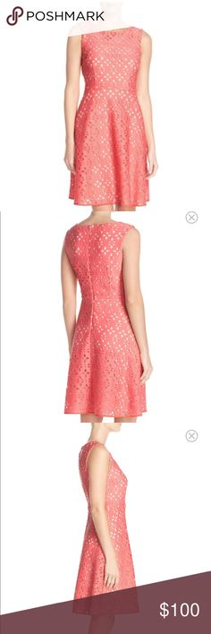 """Adrianna Papell fit and flare dress Laser cut """"Scuba"""" fit and flare dress by Adrianna Papell. Beautiful light coral/petal color and very flattering fit. Never been worn, new with tags. Sold on Nordstrom.com, item number 5143180. Adrianna Papell Dresses Midi"""