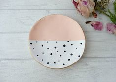 Peach White Clay Ring Dish, Trinket Dish, Jewelry Dish, Pastel Decor, Gift for Her, Black & White Polka Dot, Gifts For Women, Peach Decor
