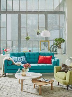Envie de ces couleurs bleu vert canard turquoise gris for Deco turquoise salon