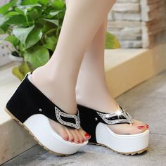 High Platform Crystal Mask Thong Sandals