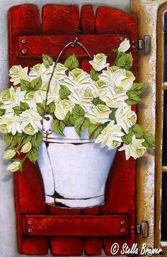 Art by Stella Bruwer white enamel bucket on red shutter  with white roses