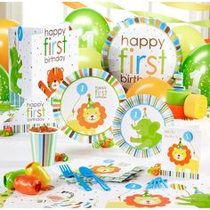 Sweet Safari Blue 1st Birthday Jungle Theme Boy First Parties