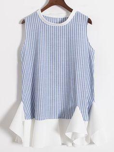 Peplum Hem Vertical Striped Blue Dress 12.67