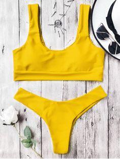 U Neck Bralette Thong Bikini Set - YELLOW S
