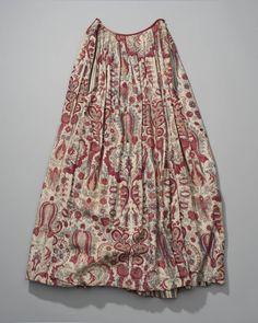sitsen rok gevoerd met gestreept linnen, Friesland #Friesland