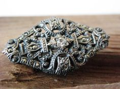 Marcasite and Rhinestone Brooch Art Deco Style Pin by Sfuso