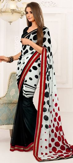 145503: #Circles #prints #saree #monochrome #geometry #onlineshopping #sale.