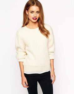 New Look Ribbed Sweater in Cream