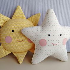 Sun and Star Cushion - Kids Pillows - Ideas of Kids Pillows Sewing Toys, Baby Sewing, Sewing Crafts, Diy Crafts, Star Cushion, Diy Cushion, Baby Pillows, Kids Pillows, Fabric Toys