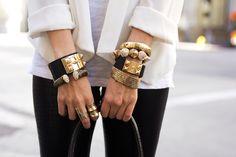 Black and gold bracelet stacks | tumblr