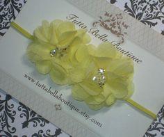 Flor amarela Headband, Baby Headband, Pearl e strass Faixa de Cabelo, Amarelo Chiffon Flor, Baby Laço de Cabelo, Baby Bow, Criança headband
