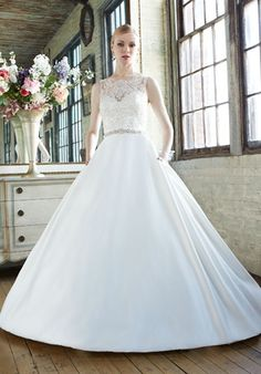 Moonlight Collection Ball Gown made of Satin fabric with Bateau neckline, Natural waist, and Lace embellishments.
