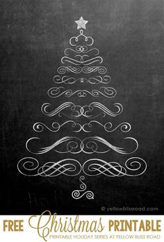 Free Printable Chalkboard Christmas Tree - so cute! #holidayideaexchange