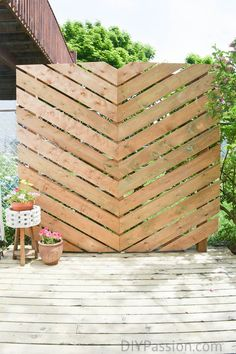 How to Build a Simple Chevron Outdoor Privacy Wall http://www.diypassion.com/2016/07/28/build-simple-chevron-outdoor-privacy-wall/?utm_campaign=coschedule&utm_source=pinterest&utm_medium=DIY%20Passion&utm_content=How%20to%20Build%20a%20Simple%20Chevron%20Outdoor%20Privacy%20Wall