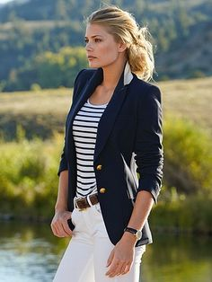 love - Blue blazer with gold buttons, blue & white stripe shirt, white pants. -nautical love - Blue blazer with gold buttons, blue & white stripe shirt, white pants. Mode Outfits, Office Outfits, Casual Outfits, Summer Outfits, Office Attire, Navy Blazer Outfits, Navy Blazers, Striped Blazer Outfit, Navy Blue Blazer
