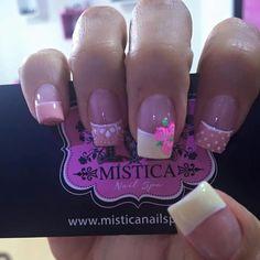 Pink Nail Designs, Short Nail Designs, Mani Pedi, Manicure And Pedicure, Nail Decorations, Nail Spa, Flower Nails, Gorgeous Nails, Short Nails