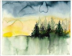 Original watercolor landscape painting pine trees surreal wall art ...