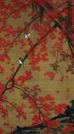 to Jakuchu, Edo Era Japan. painting - red maple leaves `
