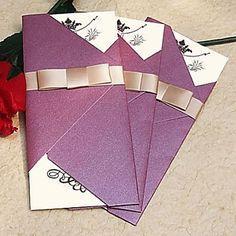 Vintage Sparkling Purple Wedding Invitation With Gold Ribbon (Set of 60) - USD $ 59.99