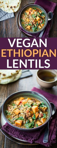 Creamy Vegan Ethiopian Lentils | Savory sweet potato, tender lentils, and fresh spinach are simmered in a Berbere-spiced coconut milk broth.