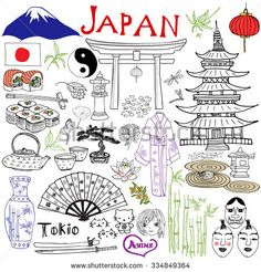 Japan doodles elements. Hand drawn set with Fujiyama mountain, Shinto gate, Japanese food sushi and tea set, fan, theater masks, katana sword, pagoda, kimono. Drawing doodle collection, isolated