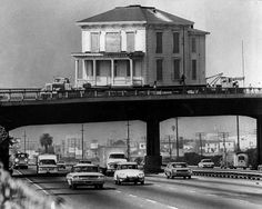 Moving a house in Los Angeles, c. 1970s