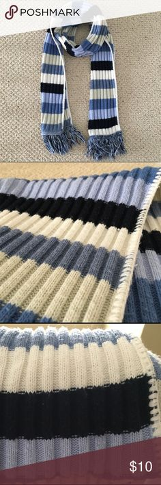 "{TGAC} Striped Scarf in Shades of Blue and White Stay warm with this beautiful thick striped scarf in the prettiest shades of blue and white. Measures 64"" L x 7.5"" W. The Great American Company Accessories Scarves & Wraps"