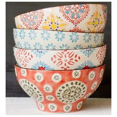 Chehoma Multi-Colored Bohemian Bowls- set of These bowls are the perfect compliment to any kitchen and make for great food photography! Décoration Table Nouvel An, Home Decor Accessories, Decorative Accessories, Little Presents, Deco Boheme, Pottery Painting, Vintage Home Decor, Sweet Home, House Styles