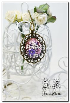 Shaped Pendant Necklace Sunset Floral Jewelry Feminine Necklace Polymer Clay Applique Floral Embroidery Filigree Floral Necklace Flower