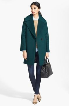Love this emerald green coat styled with jeans and leopard pumps.  All of these items (head to toe!) are on sale now during Nordstrom's Anniversary Sale of all new pre-fall and fall products!