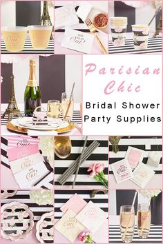 Are you dreaming of a Parisian Chic Bridal Shower? It's quite an exciting idea! This particular theme opens the door to countless possibilities. Paris Bridal Shower, Chic Bridal Showers, Bridal Shower Party, Paris Invitations, Country Wedding Invitations, Bridal Shower Invitations, Wedding Favors, Wedding Reception, Bachelorette Party Decorations