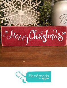 Merry Christmas Holiday Decoration Wooden Sign from Create Your Joy https://www.amazon.com/dp/B01MRFTG7K/ref=hnd_sw_r_pi_dp_eImhybN7H1VWG #handmadeatamazon