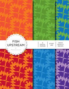 """Digital Paper - Fish Upstream - Instant Download - Digital Artwork by mormonlinkshop  5.00 USD  Digital paper is a bit of a misnomer as no paper is involved! You can use these JPEG versions of 12""""x12"""" papers to create backgrounds photo mattes die-cuts etc. just as you would have used a traditional piece of paper. Of course you're able to use these over and over again no longer will you worry about making the """"wrong cut"""" and wasting your supply. Great for all ages classes activities etc. Hang…"""