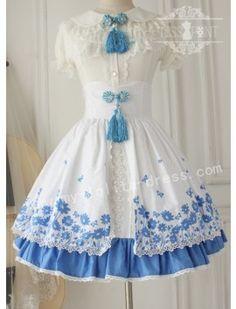 White Blue Flower. I want the over skirt!