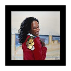"""""""Jackie Joyner Kersee painting"""" Painting by Paul Meijering posters, art prints, canvas prints, greeting cards or gallery prints. Find more Painting art prints and posters in the ARTFLAKES shop. Paintings For Sale, Original Paintings, Stretched Canvas Prints, Framed Prints, Jackie Joyner Kersee, American Athletes, Female Athletes, Heptathlon, Sports Painting"""