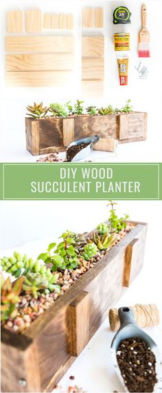 This easy-to-make DIY wood succulent planter is the perfect way to bring the outdoors in throughout these beautiful spring and summer months ahead. - All For Garden Indoor Planters, Diy Planters, Garden Planters, Planting Succulents, Succulent Planter Diy, Succulent Landscaping, Suculentas Diy, Reclaimed Wood Projects, Garden In The Woods