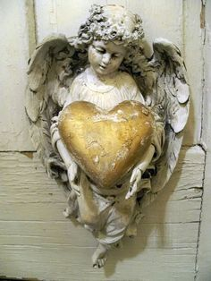 Shabby chic angel figurine wall decor holding golden heart ooak Anita Spero from AnitaSperoDesign on Etsy. Saved to home. Statue Ange, Angel Heart, Angel Wings, I Believe In Angels, Golden Heart, Angels Among Us, Guardian Angels, Statues, Madonna