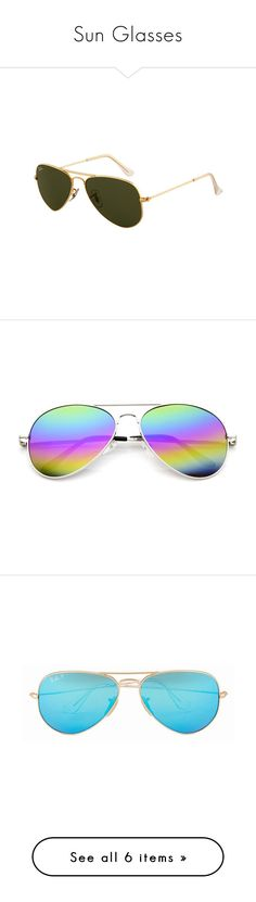 """""""Sun Glasses"""" by gueng ❤ liked on Polyvore featuring accessories, eyewear, sunglasses, gold sunglasses, green lens glasses, ray ban sunglasses, ray ban glasses, gold aviator sunglasses, rainbow lens sunglasses and rainbow aviator sunglasses"""
