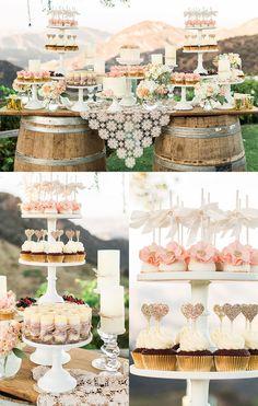 Mesas de dulces para bodas - Ejemplos con estilo rústico