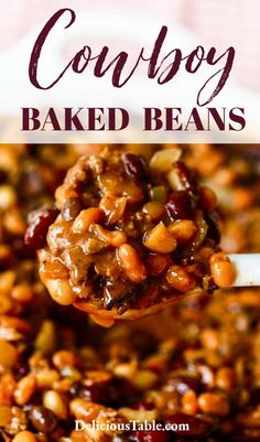 Crockpot Baked Beans, Baked Beans With Hamburger, Cowboy Baked Beans, Crockpot Potluck, Cowboy Beans, Baked Bean Recipes, Hamburger Recipes, Potluck Recipes, Party