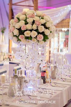 Dekoracje weselne, dekoracja sali weselnej, sala weselna olsztyn Wedding Centerpieces, Bridal Shower, Bloom, Wedding Inspiration, Table Decorations, Weeding, Flowers, Centerpieces, Mesas