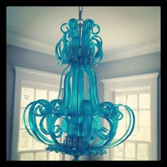 Turquoise Murano Glass Chandelier