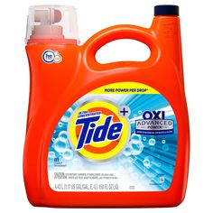 Tide Advanced Power OXI Liquid Laundry Detergent, 81 wash loads Extra stain removal for whites and colours Up to 81 loads L gal) jug Bleach Alternative, Liquid Laundry Detergent, Tide Detergent, Kitchen Appliance Packages, Cleaning Agent, Container Size, Washer And Dryer, Whitening, Cleaning Supplies