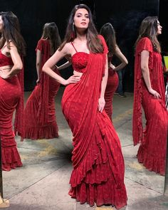 Diana Penty sizzles in rock red ruffle saree and proves that nothing is more sexy than this Indian attire - HungryBoo Diana Penty, Dress Indian Style, Indian Dresses, Indian Wedding Outfits, Indian Outfits, Saree For Wedding, Wedding Dress, Indian Beauty Saree, Indian Sarees