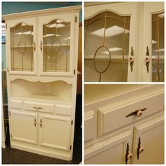 FREE SHIP - Corner Hutch Solid Vintage Lighted One Piece Dining Kitchen Shelf with Glass Top Cabinet - Oak - Antique White Cream