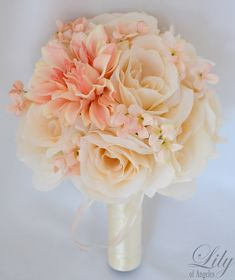 "17pcs Wedding Bridal Bouquet Set Silk Flower Decoration Package PEACH IVORY ""Lily of Angeles"". $209.99, via Etsy."