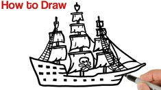 How to Draw Pirate Ship Step by Step Pirate Ship Drawing, Bird Clipart, Easy Drawings For Beginners, Simple Art, Learn To Draw, Art Tutorials, Pirates, Markers, Youtube